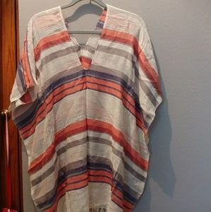 Red white and blue cover up or poncho